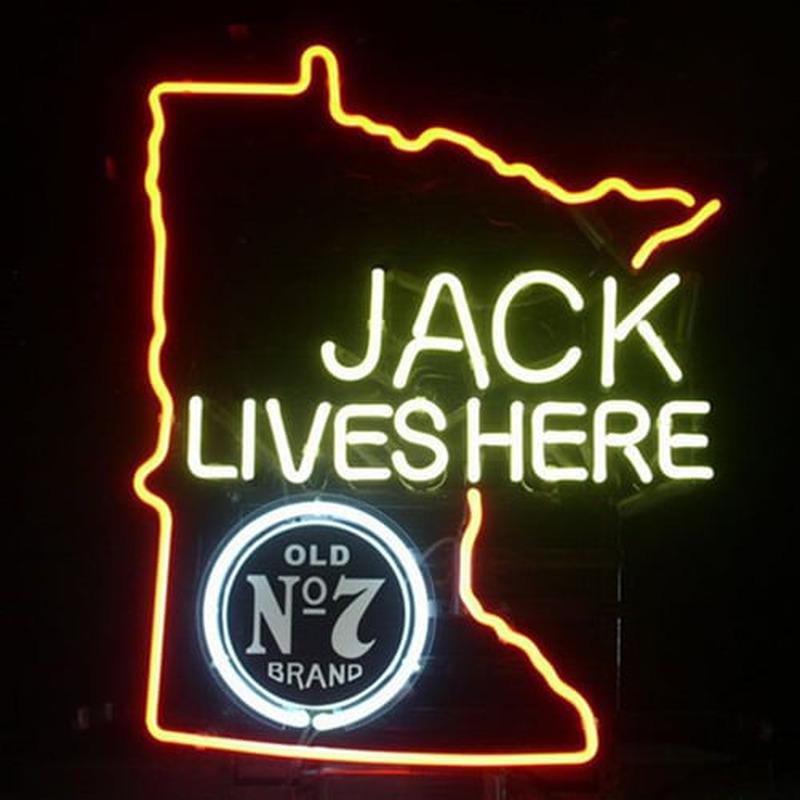 Jack Daniels Lives Here Minnasota Whiskey Neon Sign