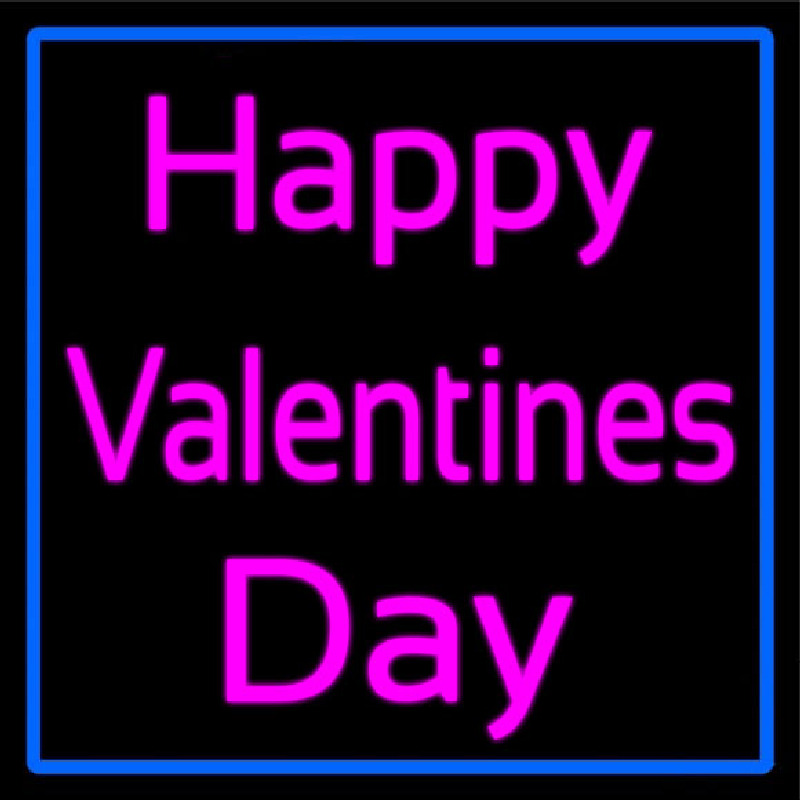 Pink Cursive Happy Valentines Day With Blue Border Neon Sign