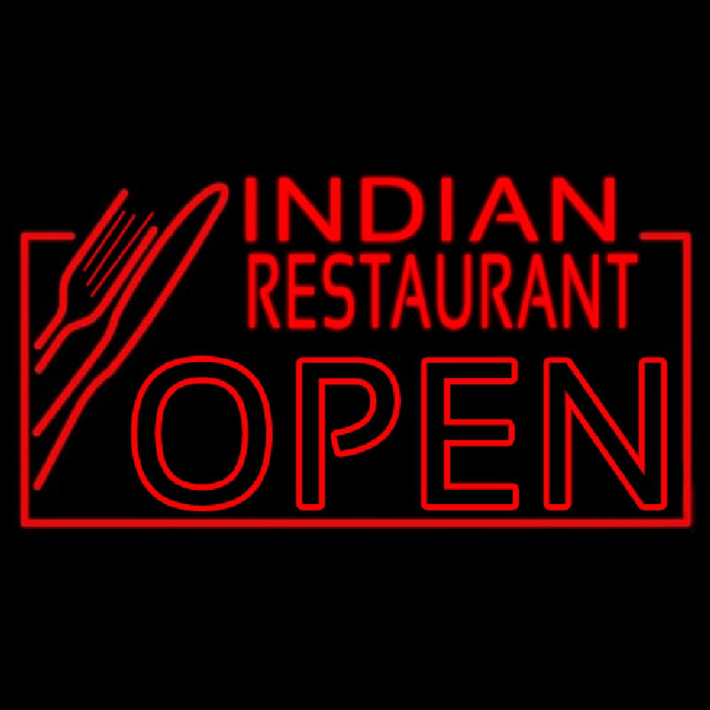 Red Indian Restaurant Open Neon Sign