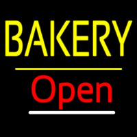 Bakery Open Yellow Line Neon Sign