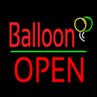 Balloon Open Block Green Line Neon Sign
