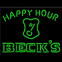 Beck Key Logo Happy Hour Beer Neon Sign