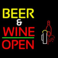 Beer And Wine With Bottle Open Neon Sign