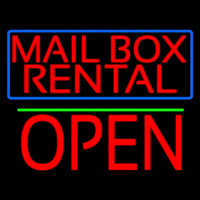 Block Mail Bo  Rental Blue Border With Open 1 Neon Sign