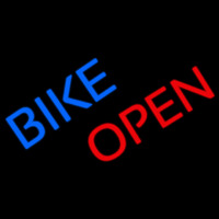 Blue Bike Red Open Neon Sign