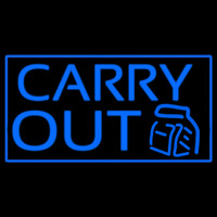 Blue Carry Out Neon Sign
