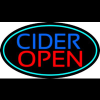 Blue Cider Open With Turquoise Oval Neon Sign