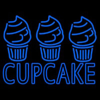 Blue Cupcake With Cupcake Neon Sign
