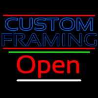 Blue Custom Framing With Lines With Open 3 Neon Sign