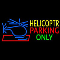 Blue Helicopter Parking Only Neon Sign