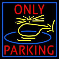 Blue Helicopter Parking Only With Blue Border Neon Sign