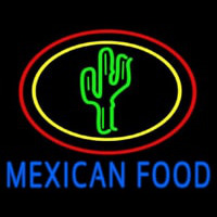 Blue Mexican Food With Cactus Logo Neon Sign
