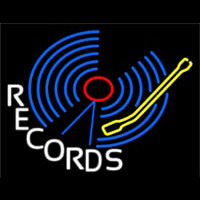 Blue Records Block Neon Sign