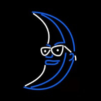 Blue White Light Up Moon Beer Neon Sign