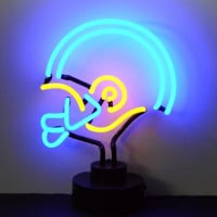 Blue Yellow Football Helmet Desktop Neon Sign