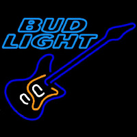 Bud Light Blue Electric Guitar Beer Sign Neon Sign