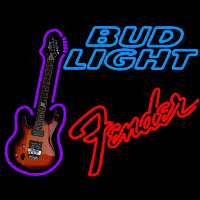 Bud Light Fender Red Guitar Beer Sign Neon Sign