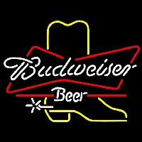 Budweiser Cowboy Boot Beer Sign Neon Sign