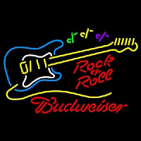 Budweiser Rock N Roll Yellow Guitar Neon Sign