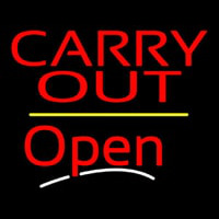 Carry Out Open Yellow Line Neon Sign