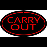 Carry Out Oval Red Neon Sign