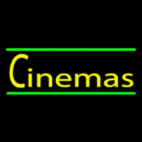 Cinemas With Green Line Neon Sign