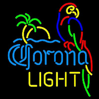 Corona Light Parrot with Palm Beer Sign Neon Sign