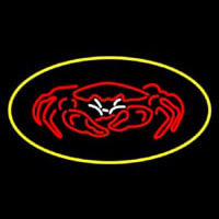 Crab Seafood Logo Oval Yellow Neon Sign