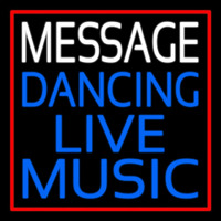 Custom Block Blue Live Music Dancing Red Border Neon Sign