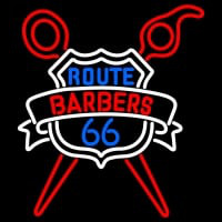 Custom Route Barbers 66 Logo Neon Sign