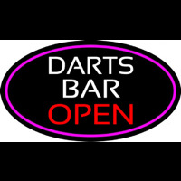 Dart Bar Open Oval With Pink Border Neon Sign