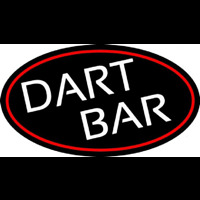 Dart Bar With Oval With Red Border Neon Sign
