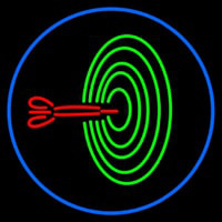Dart Board Bar Oval With Blue Border Neon Sign