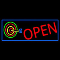 Dart Board Open With Blue Border Neon Sign
