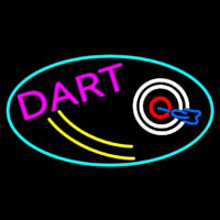 Dart Board Oval With Turquoise Border Neon Sign