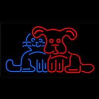 Dog Cat Logo Neon Sign