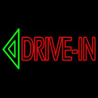 Double Stroke Drive In With Arrow Neon Sign