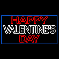 Double Stroke Happy Valentines Day With Blue Border Neon Sign