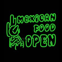 Double Stroke Mexican Food Open Neon Sign