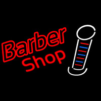 Double Stroke Red Barber Shop Neon Sign