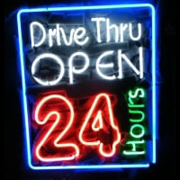 Drive Thru Open 24 Hours Noneon Sign Neon Sign