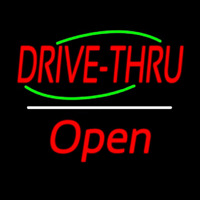 Drive Thru Open White Line Neon Sign