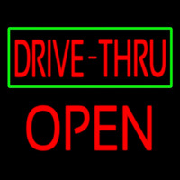 Drive Thru With Green Border Block Open Neon Sign