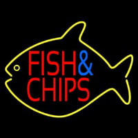 Fish And Chips Inside Fish Neon Sign