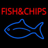 Fish And Chips With Fish Logo  Neon Sign