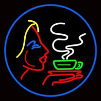 Girl Logo With Hot Coffee Neon Sign