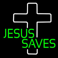 Green Jesus Saves White Cross Neon Sign