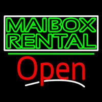 Green Mailbo  Rental Block With Open 3 Neon Sign