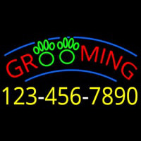 Grooming With Phone Number Neon Sign