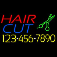 Hair Cut With Number And Scissor Neon Sign